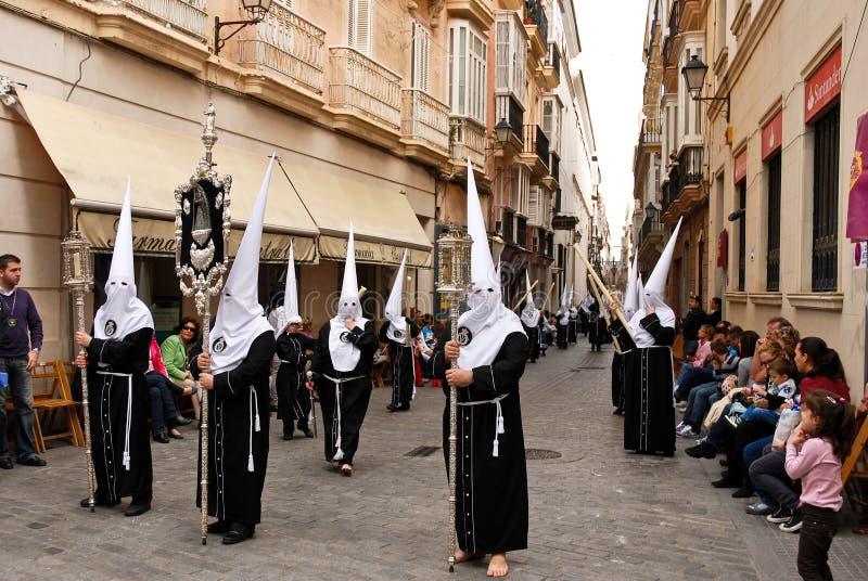 helig vecka för gator för processionsanta semana arkivbild