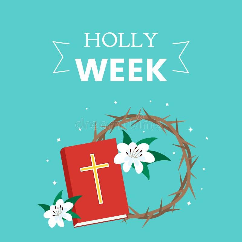 Helig vecka för vykort för påsk, fastlagen och palmsöndag, långfredag, korsfästelsen av Jesus och uppståndelsen Helig bibel, royaltyfri illustrationer