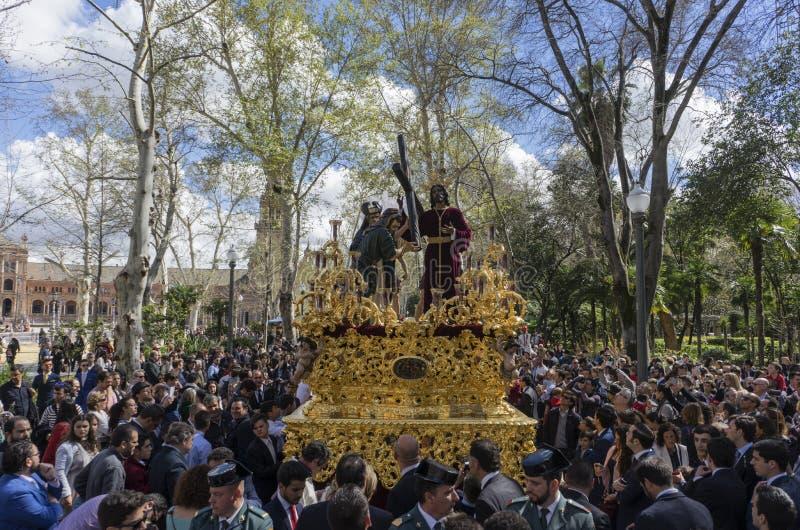 Helig vecka i Seville, brödraskap av fred royaltyfri fotografi
