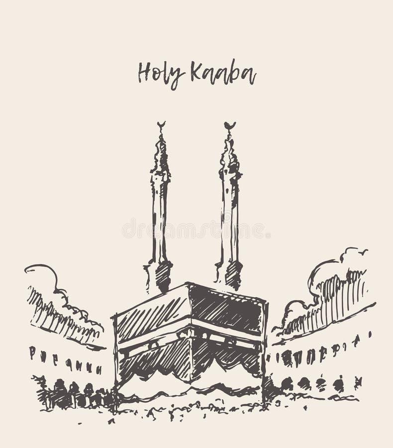 Heliga drog Kaaba Mecca Saudi Arabia muslim skissar stock illustrationer
