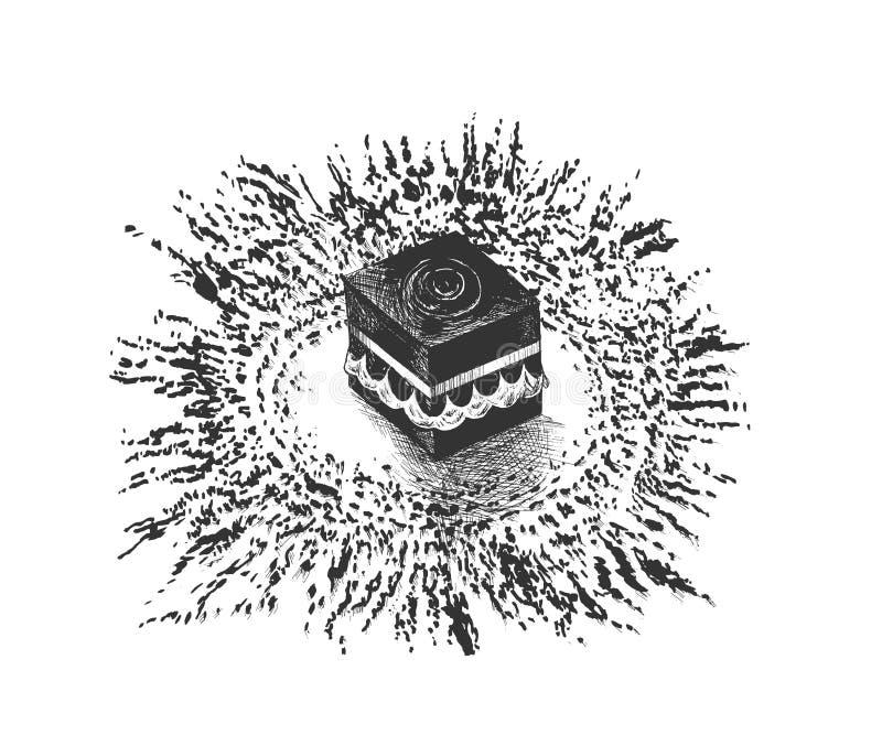 Heliga Kaaba i Mecca Saudi Arabia, den drog handen skissar vektorillus royaltyfri illustrationer