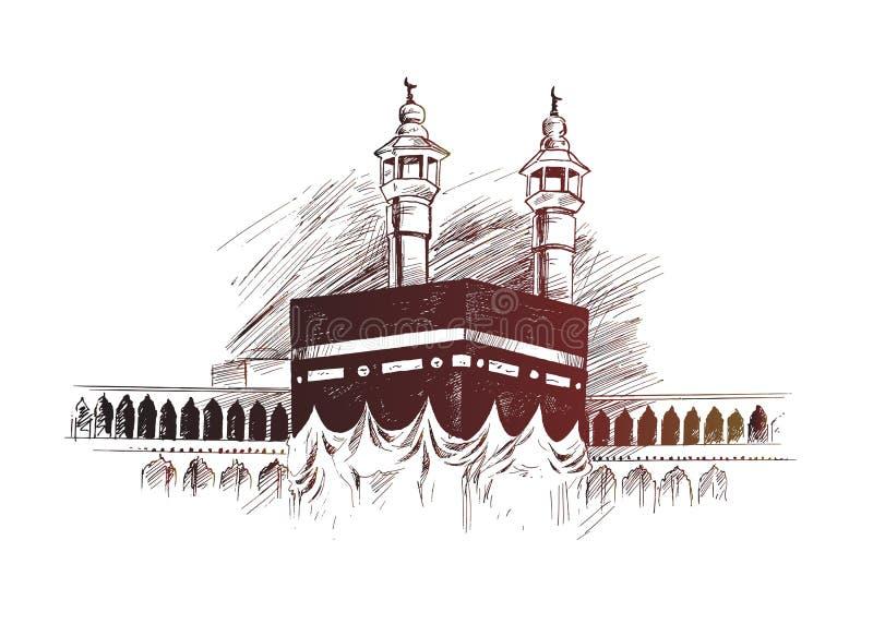 Heliga Kaaba i Mecca Saudi Arabia, den drog handen skissar vektorn royaltyfri illustrationer