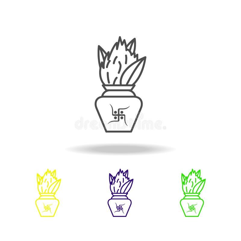 heliga Kalash Kumbh lämnar mangotemplet färgade symboler på vit bakgrund Diwali semestrar den hinduiska festivalindiern beståndsd royaltyfri illustrationer