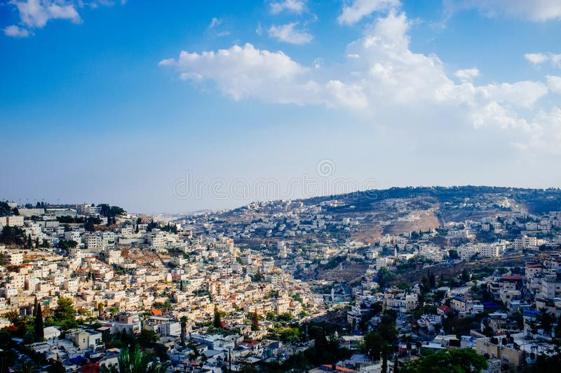 Heliga landserien - östra Jerusalem Al Quds - byn Silwan arkivbilder