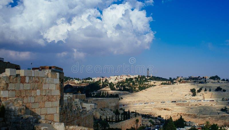 Heliga landserien - Jerusalem Old City - Mt Oliv arkivbild