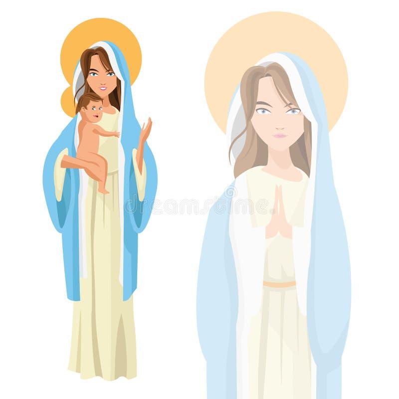 Heliga mary behandla som ett barn den jesus symbolen som stylized swirlvektorn för bakgrund det dekorativa diagrammet vågr vektor illustrationer
