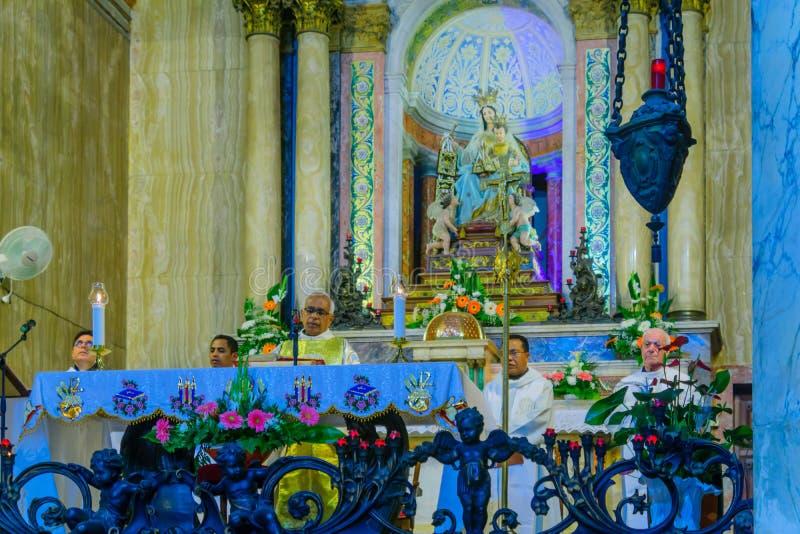 Heliga torsdag i Stella Maris Carmelite Monastery, Haifa royaltyfri fotografi