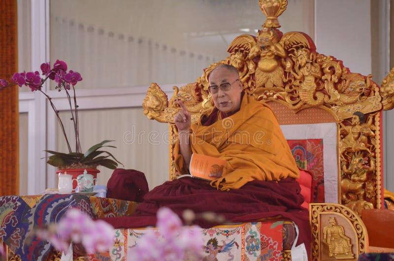 Helighet Dalai Lama i Bodhgaya, Indien arkivfoton