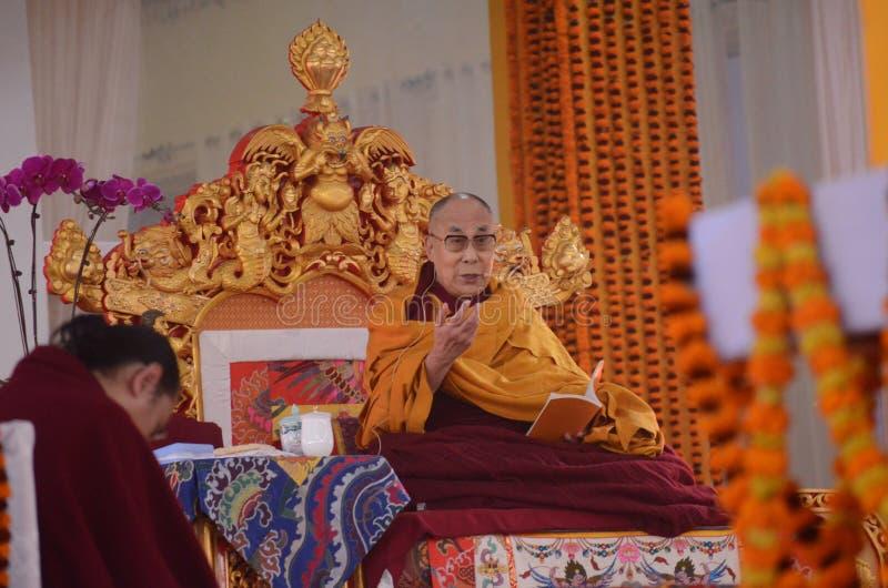 Helighet Dalai Lama i Bodhgaya, Indien arkivbilder