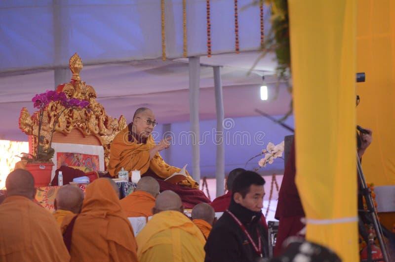 Helighet Dalai Lama i Bodhgaya, Indien royaltyfria foton