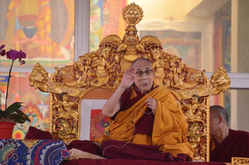 Helighet Dalai Lama i Bodhgaya, Indien arkivfoto