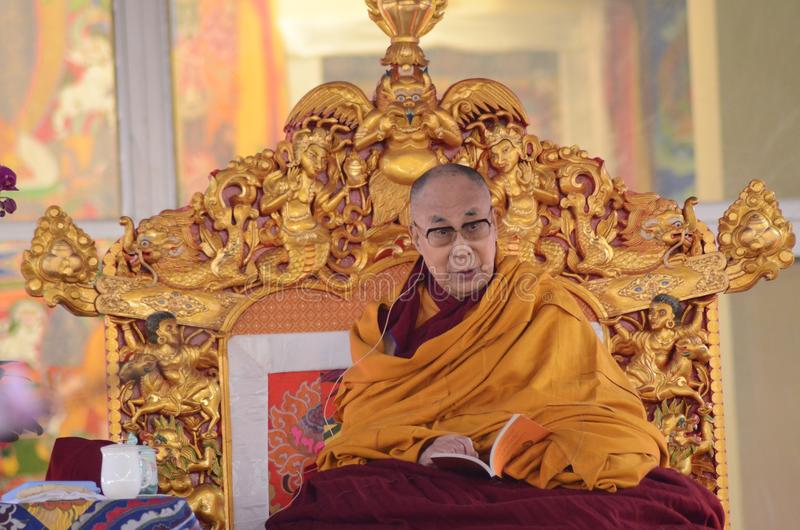 Helighet Dalai Lama i Bodhgaya, Indien royaltyfri foto
