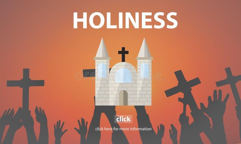 Helighetevangeliet ber andligt vishetdyrkanbegrepp stock illustrationer
