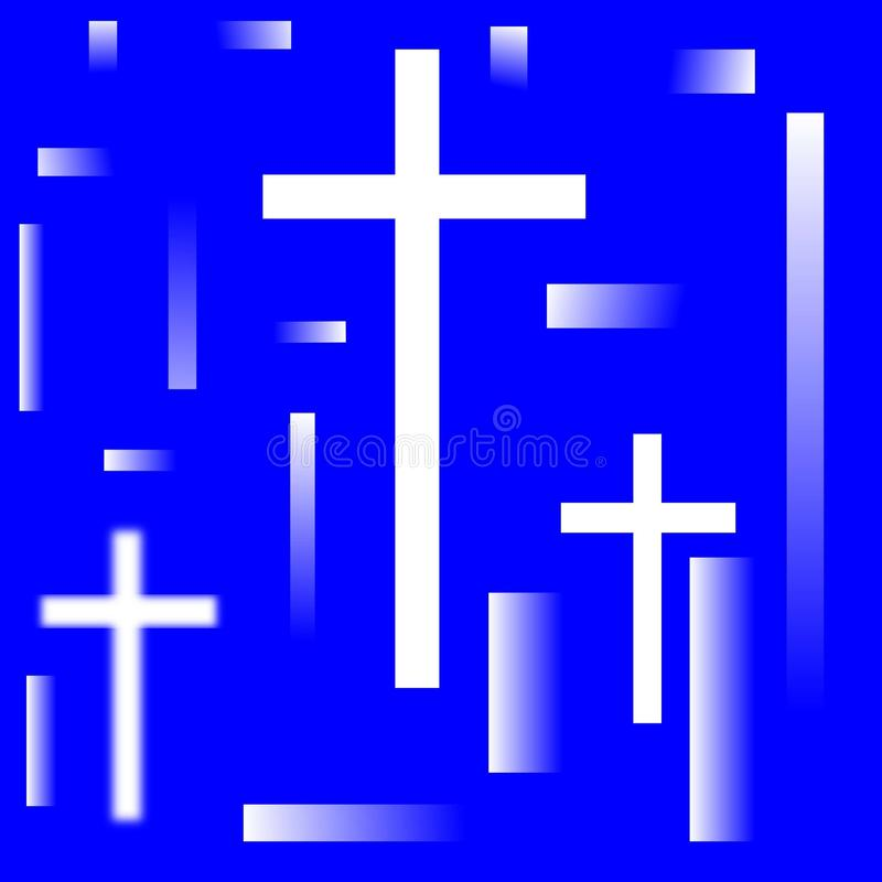 Heligt kors i reflexioner stock illustrationer