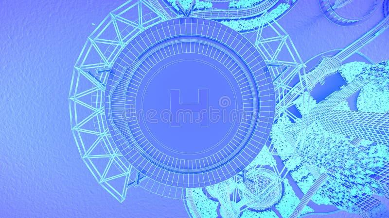 helihaven Horizon van de concepten de toekomstige stad Futuristisch bedrijfsvisieconcept 3D Illustratie vector illustratie