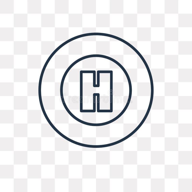 Helihaven vectordiepictogram op transparante achtergrond, lineair H wordt geïsoleerd stock illustratie
