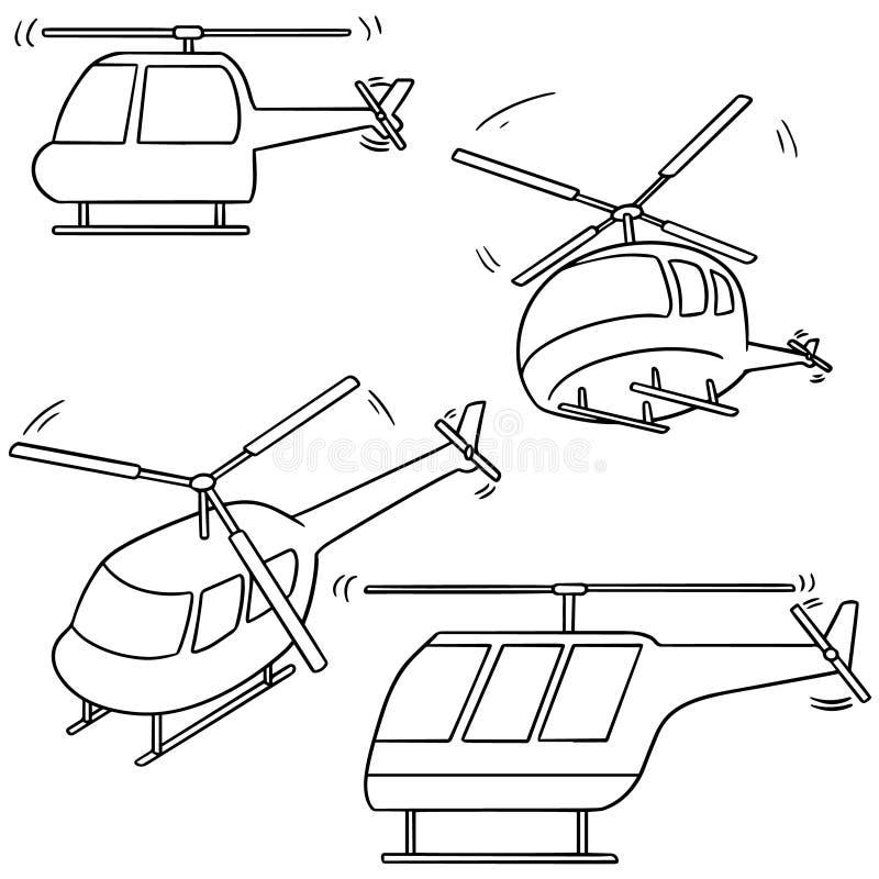 helikopter vektor illustrationer