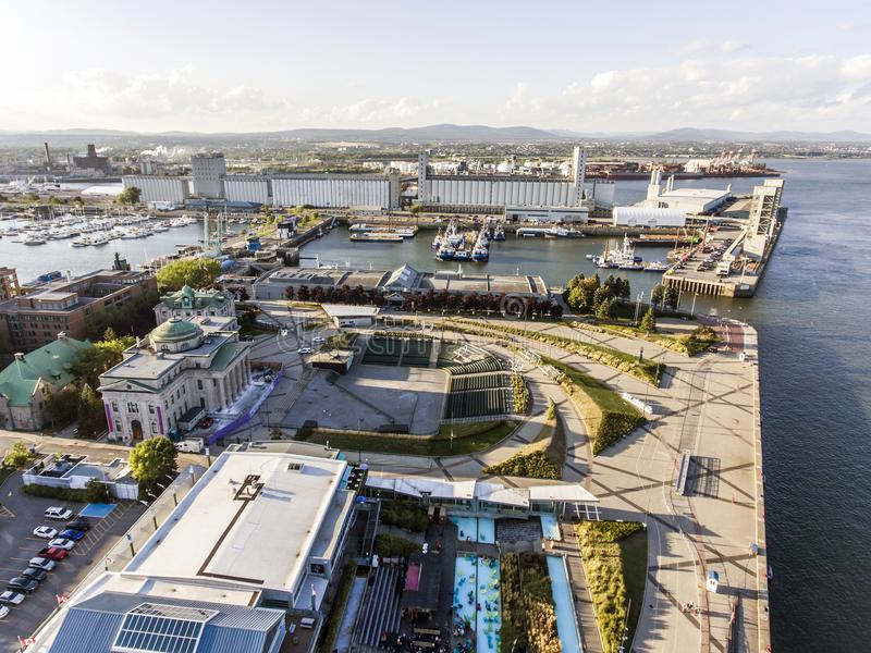 Helikopter Aerial view of outdoor Theater and the Old Port Quebec City Canada. Helikopter Aerial view of outdoor Theater and the Old Port in Quebec City Canada royalty free stock photography