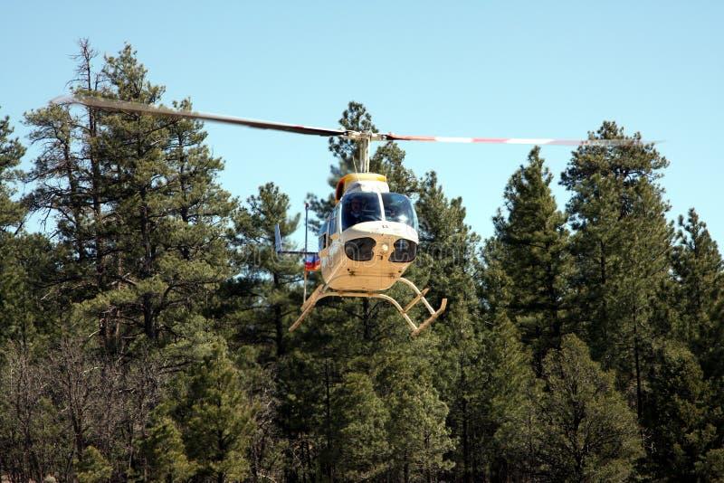 Helikopter in bos royalty-vrije stock foto