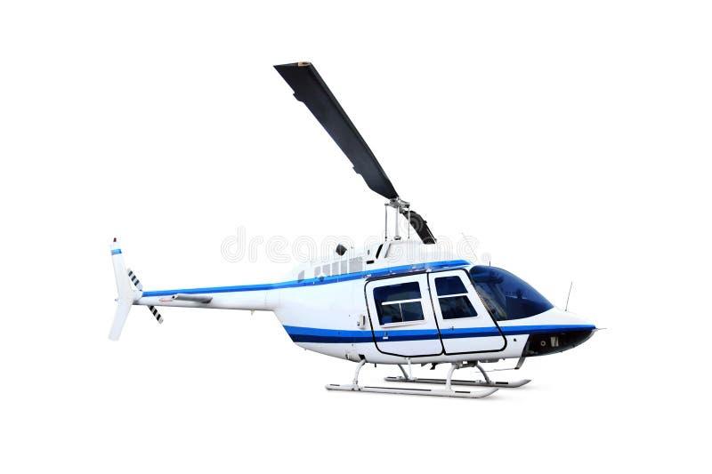 Helikopter die op wit wordt geïsoleerdd