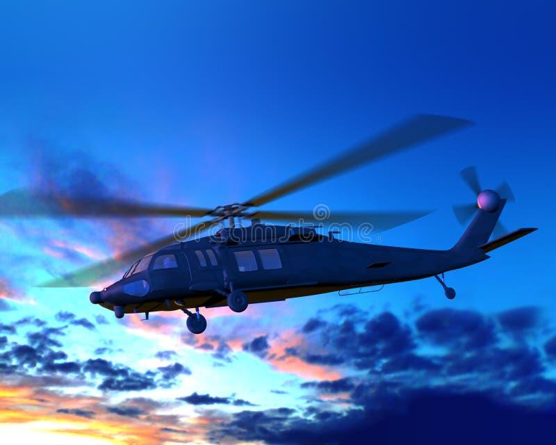 Helikopter die over wolkenzonsondergang vliegt stock afbeeldingen