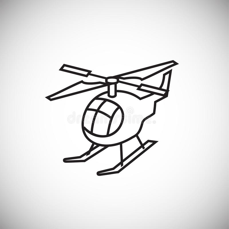 Helikopter dunne lijn op witte achtergrond royalty-vrije illustratie
