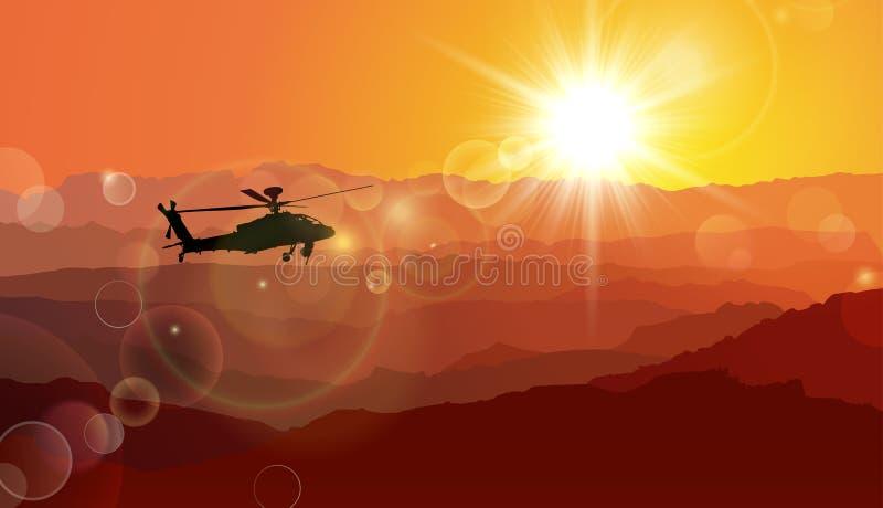Helikopter och krig, under solnedgång royaltyfri illustrationer