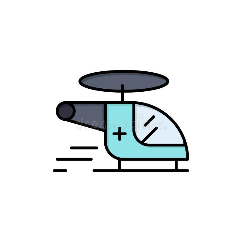 Helikopter, siekacz, Medyczna, Ambulansowa, Lotnicza Płaska kolor ikona, Wektorowy ikona sztandaru szablon ilustracja wektor