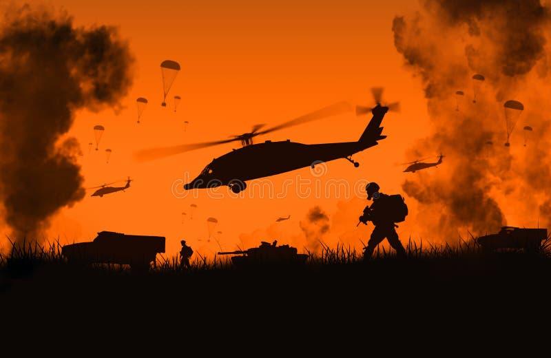 Helikopter, styrkor och maskiner för illustration militär i lantgården som når centret arkivbild