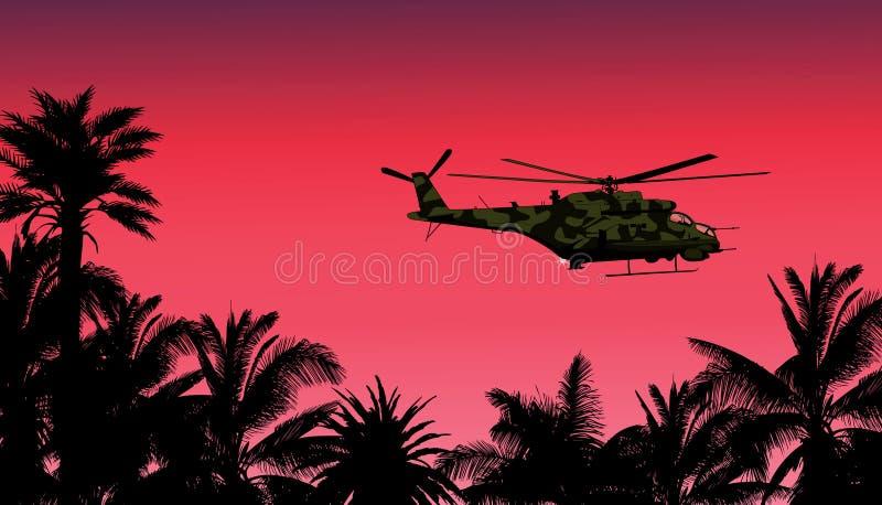 Helikopter tegen de zonsondergang vector illustratie