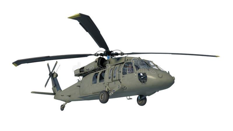 Helikopter w locie, samolot wojskowy, wojsko siekacz odizolowywający na białym tle, dolny widok, 3D odpłaca się ilustracji