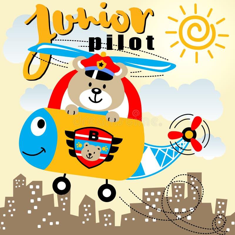 Helikopter z niedźwiedzia pilotem ilustracja wektor