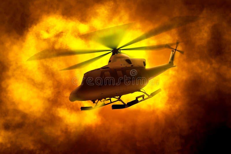 Helikopterflyg i väg från orange rökmoln royaltyfria bilder