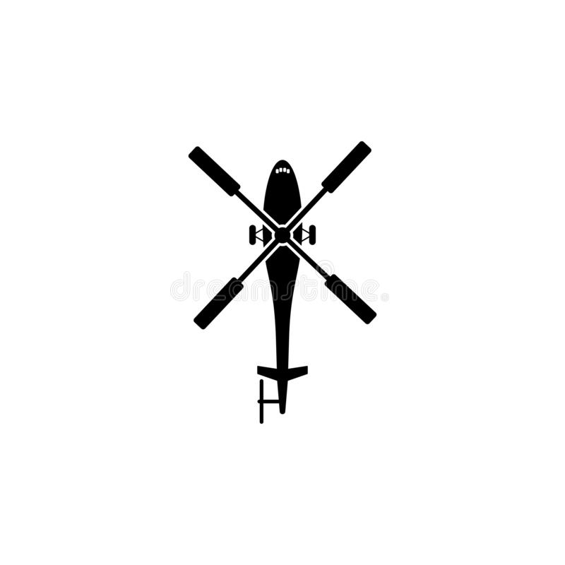 helikopterkontursymbol Beståndsdel av flygtransportsymbolen Högvärdig kvalitets- symbol för grafisk design Tecken och symbolsamli vektor illustrationer