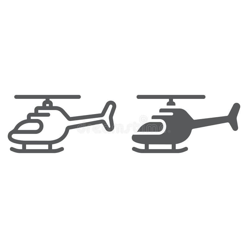 Helikopterlinje och skårasymbol, trans. och avbrytare, flygplantecken, vektordiagram, en linjär modell på ett vitt royaltyfri illustrationer