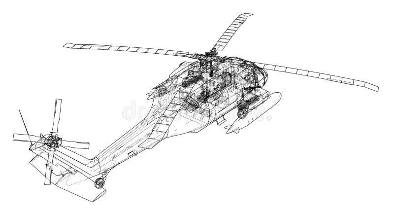 Helikopteroverzicht Militaire uitrusting stock illustratie