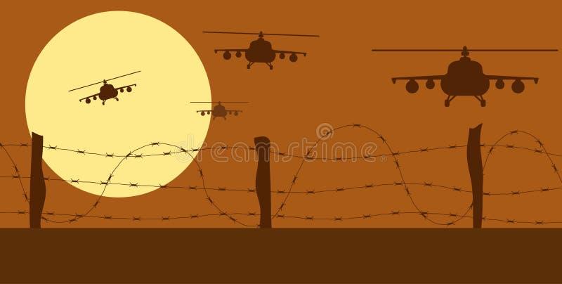 Helikopterssilhouetten en Prikkeldraad in Oorlogsstreek vector illustratie