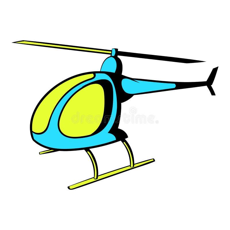 Helikoptersymbol, symbolstecknad film royaltyfri illustrationer