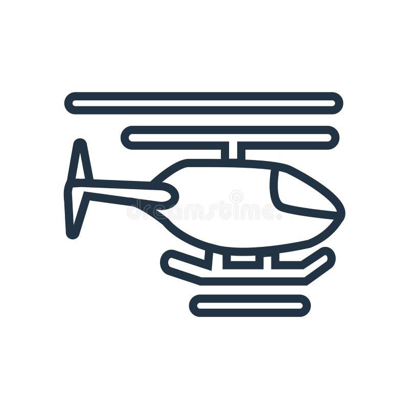 Helikoptersymbolsvektor som isoleras på vit bakgrund, helikoptertecken stock illustrationer