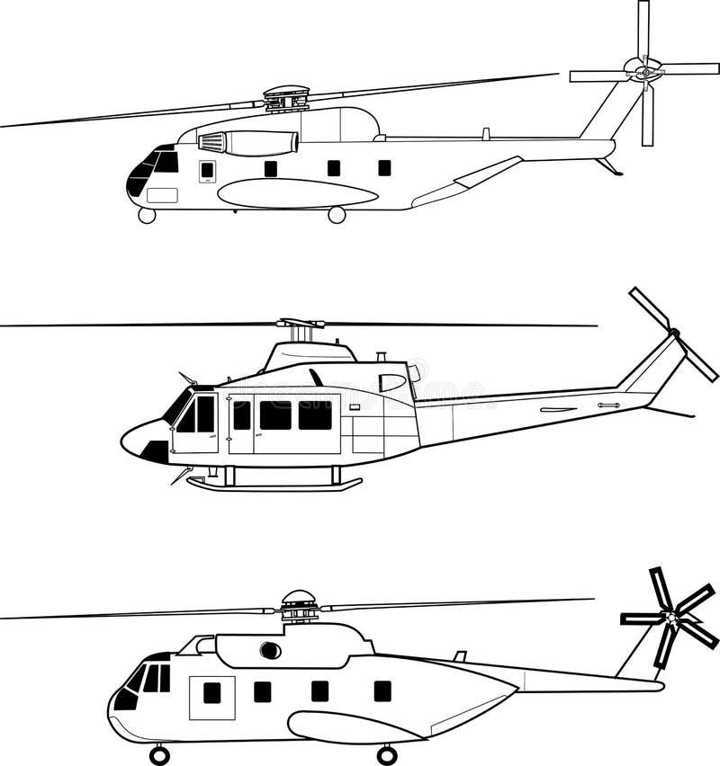 Helikoptery royalty ilustracja