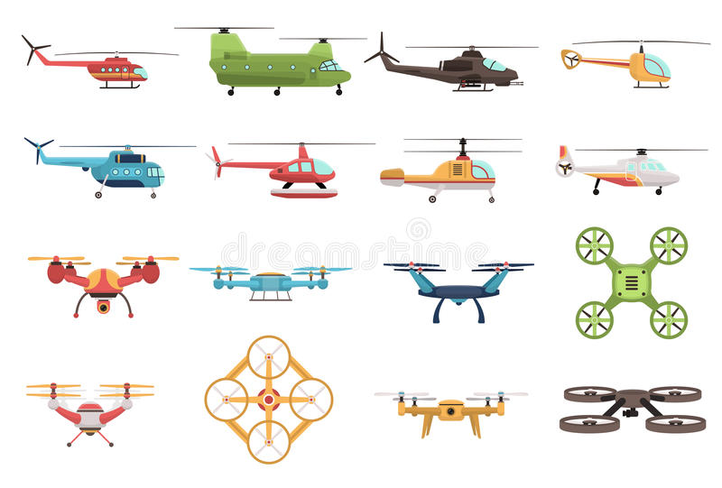 Helikoptery I trutnia set ilustracja wektor