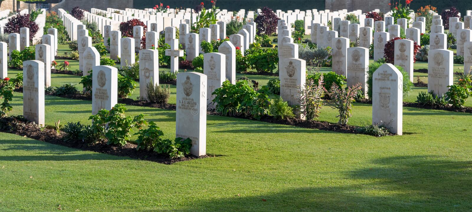 Heliopolis Commonwealth War Cemetery. Cairo, Egypt - December 7, 2016: Heliopolis Commonwealth War Cemetery, contains 1742 burials of the Second World War stock photography