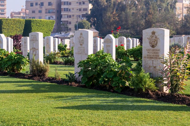 Heliopolis Commonwealth War Cemetery. Cairo, Egypt - December 7, 2016: Heliopolis Commonwealth War Cemetery, contains 1742 burials of the Second World War royalty free stock image