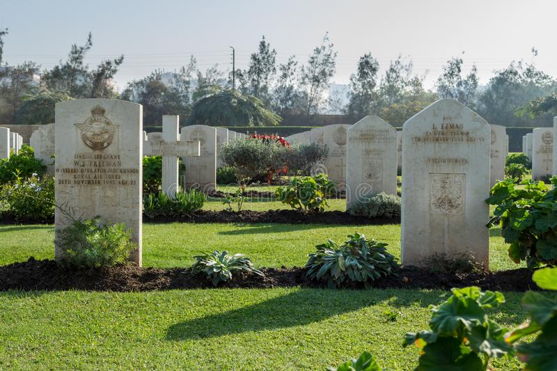 Heliopolis Commonwealth War Cemetery. Cairo, Egypt - December 7, 2016: Heliopolis Commonwealth War Cemetery, contains 1742 burials of the Second World War royalty free stock photo