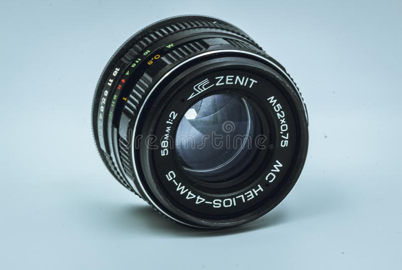 Helios 44-M vintage lens close up. Wide aperture of f2. Made in the USSR, produces an unusual bokeh effect. Can be mounted on digital cameras stock photo