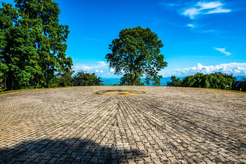 Helipad with mountain view. Chiang Rai province royalty free stock photography