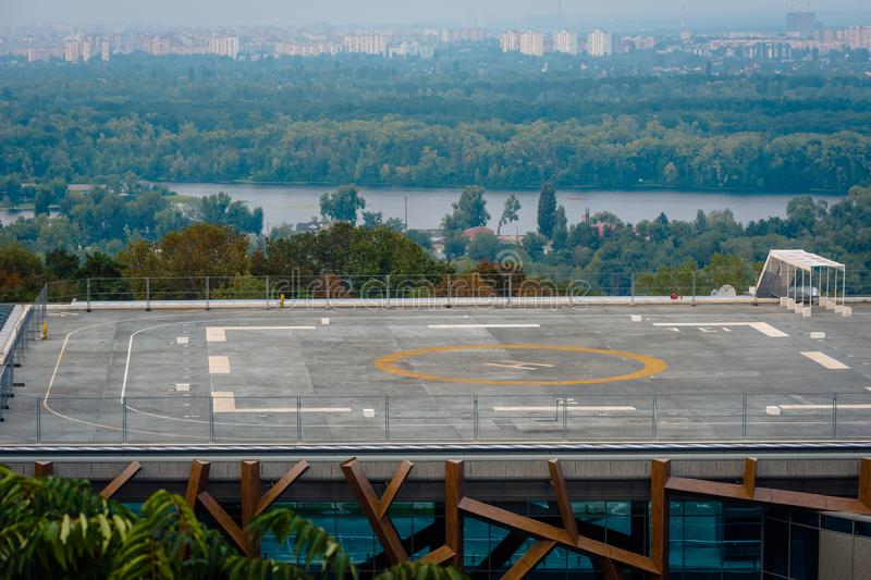 Helipad on the roof of building royalty free stock photography