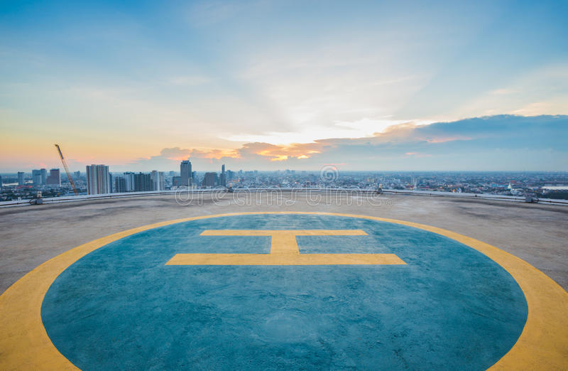 Helipad on top of the building stock photography