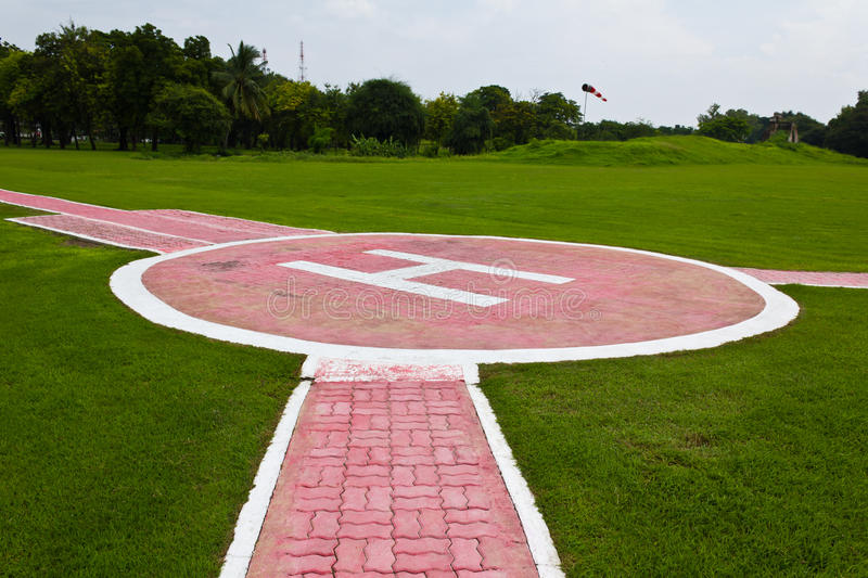 Heliport for helicopter. In lopburi of Thailand stock images