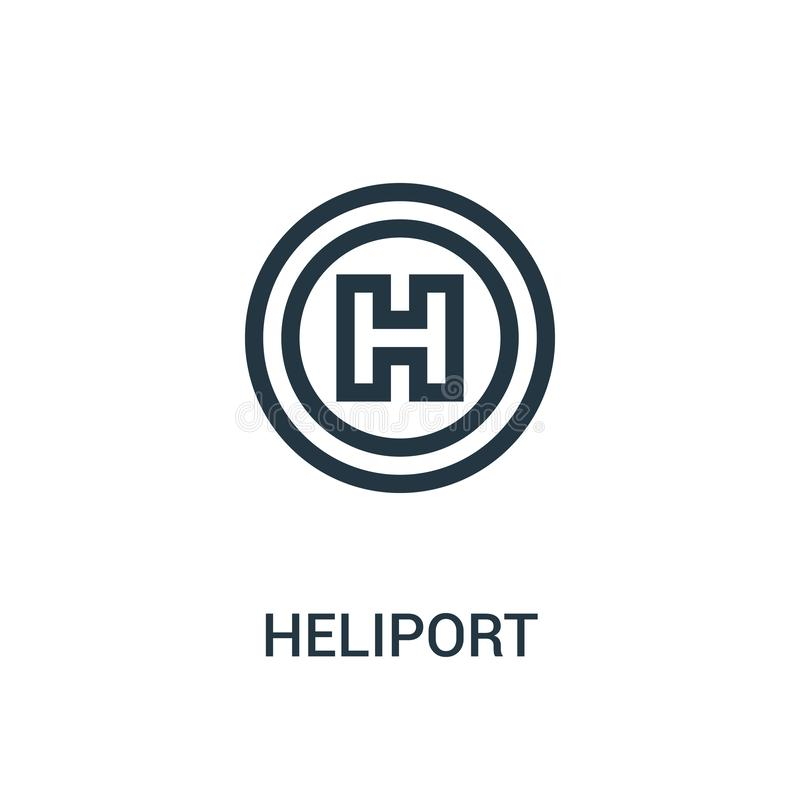 Heliport icon vector from aviation collection. Thin line heliport outline icon vector illustration. Linear symbol for use on web. And mobile apps, logo, print vector illustration